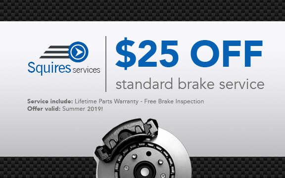 $25 off standard brake services at Squires Services - Summer 2019 Promotion